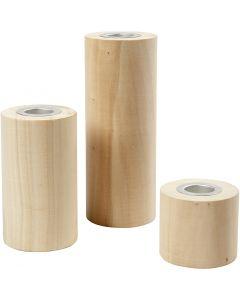 Kandelaars, H: 14,5+9+6,5 cm, gatgrootte 2,3 cm, 3 stuk/ 1 doos