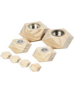 Kandelaars, H: 3,4+5 cm, d: 6,2+9 cm, gatgrootte 2,2+4,2 cm, 1 set