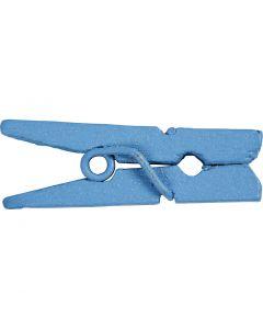 Mini wasknijpers, L: 25 mm, B: 3 mm, blauw, 36 stuk/ 1 doos