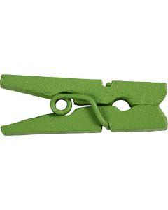 Mini wasknijpers, L: 25 mm, B: 3 mm, groen, 36 stuk/ 1 doos
