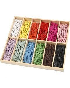 Mini wasknijper, L: 25 mm, B: 3 mm, diverse kleuren, 12x24 stuk/ 1 doos