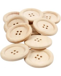 Houten knopen, d: 35 mm, gatgrootte 2 mm, 4 gaten, 10 stuk/ 1 doos