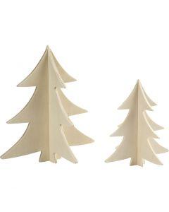 Kerstbomen, H: 13+18 cm, 2 stuk/ 1 doos