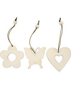 Houten decoraties, bloem, vlinder, hart, afm 6 cm, 9 stuk/ 1 doos