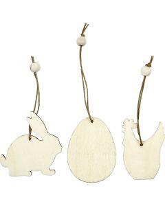 Houten decoraties, konijn, ei, kip, afm 6 cm, dikte 3 mm, 9 stuk/ 1 doos