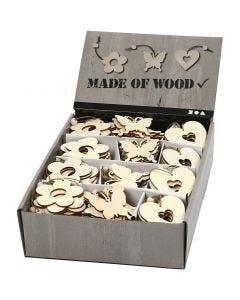Houten decoraties, bloem, vlinder, hart, afm 6 cm, dikte 3 mm, 200 stuk/ 1 doos