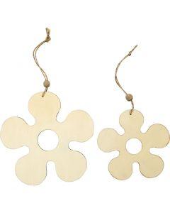 Houten decoraties, bloem, d: 12,3+16,5 cm, dikte 5 mm, 2 stuk/ 1 doos