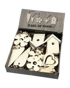 Houten decoraties, afm 6,5-21,5 cm, dikte 5 mm, 100 stuk/ 1 doos