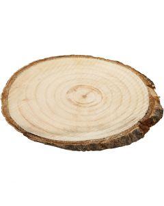 Houten schijf met bast, afm 9,5x6 cm, dikte 6 mm, 12 stuk/ 1 doos