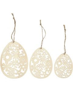 Ornamenten, H: 8+10+12 cm, B: 6+7,5+9 cm, 3 stuk/ 1 doos