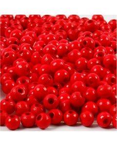 Houten kralen, d: 5 mm, gatgrootte 1,5 mm, rood, 6 gr/ 1 doos