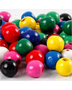 Houten kralen, d: 10 mm, gatgrootte 3 mm, diverse kleuren, 230 gr/ 1 doos