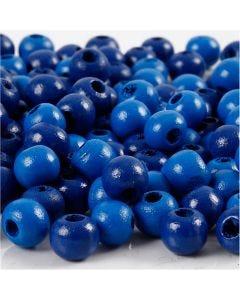 Houten kralen, d: 8 mm, gatgrootte 2 mm, blauw, 15 gr/ 1 doos, 80 stuk