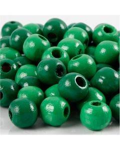 Houten kralen, d: 10 mm, gatgrootte 3 mm, groen, 20 gr/ 1 doos, 70 stuk