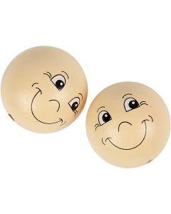 Houten ballen met gezichten, d: 40 mm, licht beige, 10 stuk/ 1 doos