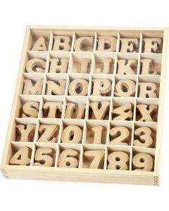 Houten letters & cijfers, H: 4 cm, dikte 2,5 mm, 288 stuk/ 1 doos