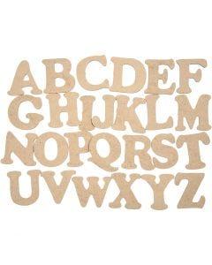 Houten letters, A-Z, H: 4 cm, dikte 2,5 mm, 26 stuk/ 1 doos