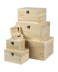 Set houten dozen, H: 5+7+9+11+13+15 cm, L: 8+11,8+15,8+20+24+27,7 cm, B: 5,8+8,8+12+15+18+21 cm, 6 stuk/ 1 set