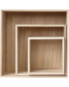 Showdozen, H: 15x15+21,5x21,5+28x28 cm, 3 stuk/ 1 set