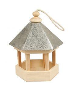 Vogelvoederhuis met zinken dak, afm 22x18x16,5 cm, 1 stuk