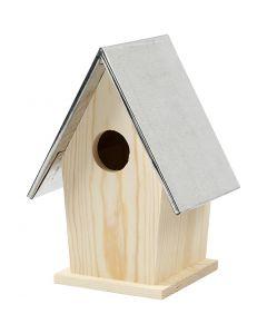 Vogelhuis met zinken dak, afm 13,5x11x19 cm, gatgrootte 32 mm, 1 stuk