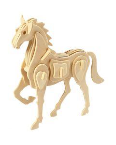 3D Houten constructie set, paard, afm 18x4,5x16 cm, 1 stuk