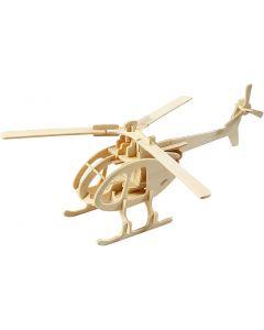 3D Houten constructie set, helicopter, afm 26,5x14x26 cm, 1 stuk