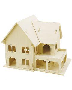 3D Houten constructie set, Huis met veranda, afm 22,5x16x17,5 , 1 stuk