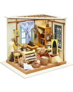 DIY Miniatuur kamer, H: 19 cm, B: 22,5 cm, 1 stuk