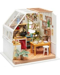 DIY Miniatuur kamer, H: 18,7 cm, B: 19 cm, 1 stuk
