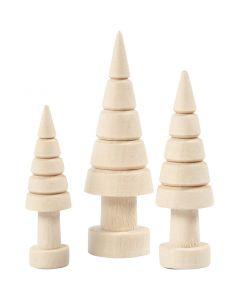 Kerstbomen, H: 5+6+7 cm, d: 14+18+22 mm, 3 stuk/ 1 doos