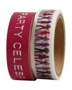 Masking Tape, B: 15 mm, roze, 2x5 m/ 1 doos