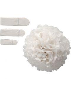 Pompon van papier, d: 20+24+30 cm, 14 gr, wit, 3 stuk/ 1 doos