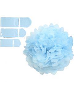 Pompon van papier, d: 20+24+30 cm, 16 gr, lichtblauw, 3 stuk/ 1 doos