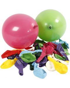 Ballonnen, rond, d: 23 cm, diverse kleuren, 100 stuk/ 1 doos