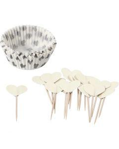 Cupcakes en cocktailprikkers, H: 3 cm, d: 5 cm, 40 gr, off-white, 24 set/ 1 doos