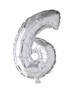 Folieballon , 6, H: 41 cm, zilver, 1 stuk