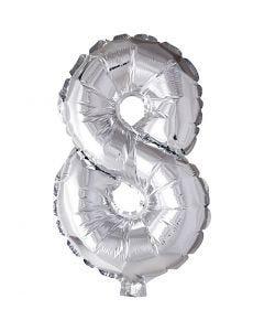 Folieballon , 8, H: 41 cm, zilver, 1 stuk