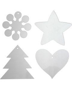 Acryl hangers, H: 7-8,5 cm, dikte 2 mm, 40 stuk/ 1 doos