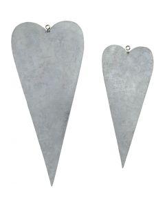 Metalen hart, H: 12+16 cm, 6 stuk/ 1 doos