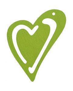 Hart, afm 55x45 mm, lime groen, 10 stuk/ 1 doos
