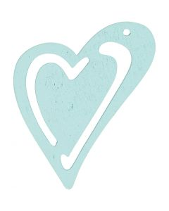Hart, afm 55x45 mm, turquoise, 10 stuk/ 1 doos