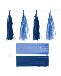 Tassels, afm 12x35 cm, 14 gr, donkerblauw/lichtblauw, 12 stuk/ 1 doos