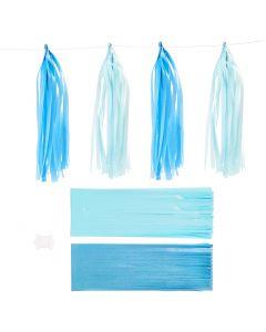 Tassels, afm 12x35 cm, 14 gr, blauw, lichtblauw, 12 stuk/ 1 doos