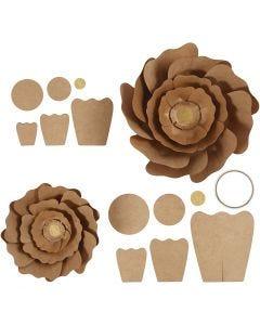 Papieren bloemen, d: 15+25 cm, naturel, 2 stuk/ 1 doos