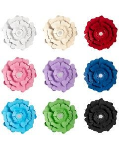 Papieren bloemen, diverse kleuren, 9x10 doos/ 1 doos