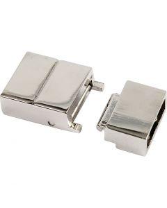 Klik sluiting, afm 25x16x6 mm, gatgrootte 4x8 mm, verzilverd, 1 stuk