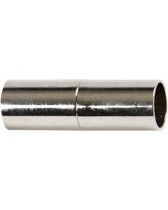 Magnetische sluiting, L: 20 mm, gatgrootte 5 mm, verzilverd, 2 stuk/ 1 doos