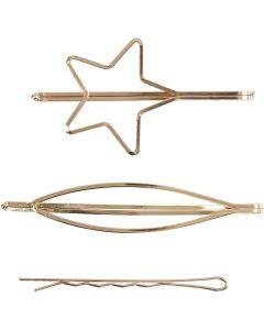 Haarspeldjes, L: 70 mm, B: 32 mm, verguld, 3 stuk/ 1 doos