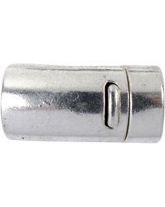 Magnetische sluiting, d: 26 mm, gatgrootte 10 mm, antiek zilver, 1 stuk
